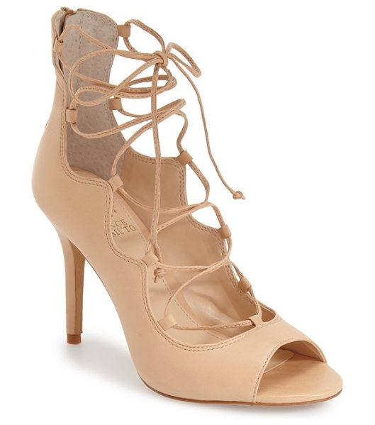 Vince Camuto sandria peep toe ghillie sandal in au natural leather - Buttery soft suede refines an essential going-out...