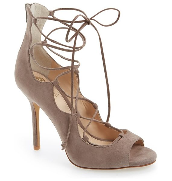 Vince Camuto sandria peep toe ghillie sandal in stone taupe - Buttery soft suede refines an essential going-out...