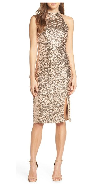 Vince Camuto sequin embellished body-con dress in beige