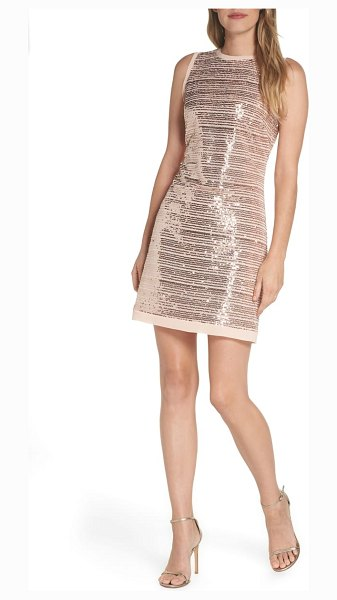 Vince Camuto sequin mesh sheath dress in pink