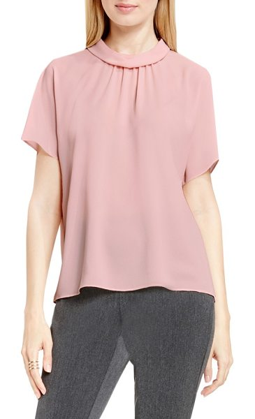 Vince Camuto shirred mock neck blouse in flora pink - Soft gathers and fluttery short sleeves enhance the...