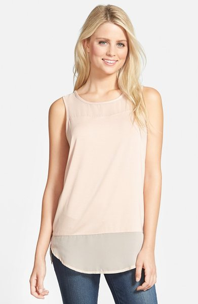 Vince Camuto sleeveless mixed media top in apricot ice - Sheer chiffon at the yoke and hem adds soft, feminine...
