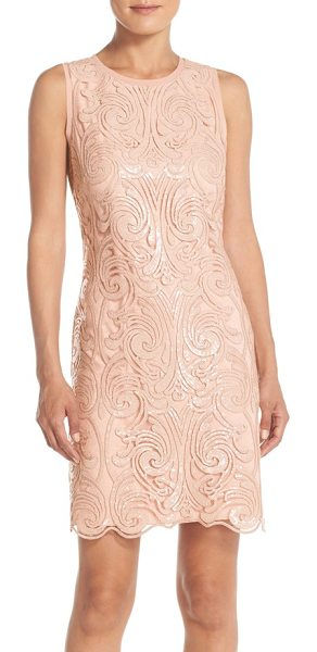 Vince Camuto sleeveless sequin fit & flare dress in champagne - Scrolling tonal sequins catch the light in intricate...