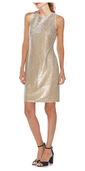 Vince Camuto sleeveless sequin sheath dress in beige