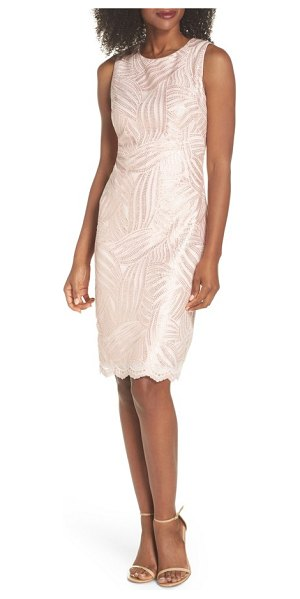 Vince Camuto sleeveless sequin sheath dress in light pink - Swirling sequins dazzle this shapely sleeveless sheath...