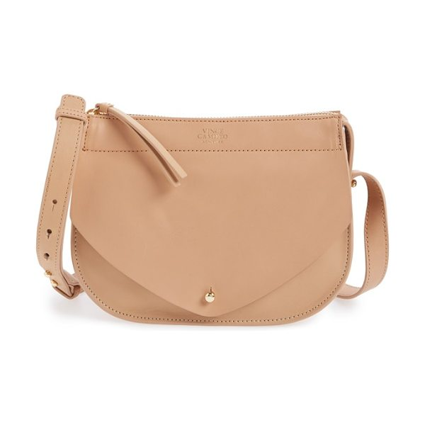 Vince Camuto Small auden leather crossbody bag in natural vachetta - A goldtone logo medallion shines against the smooth...