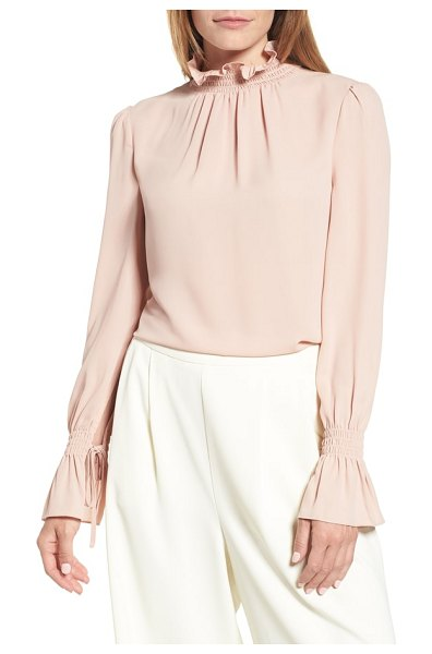 Vince Camuto smocked neck blouse in clover pink - Add a dash of Victorian romance to the season's lineup...