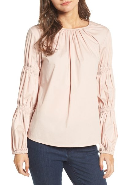 Vince Camuto smocked poplin shirt in rose buff - Pretty tucked pleats, rippling ruching and sweet...