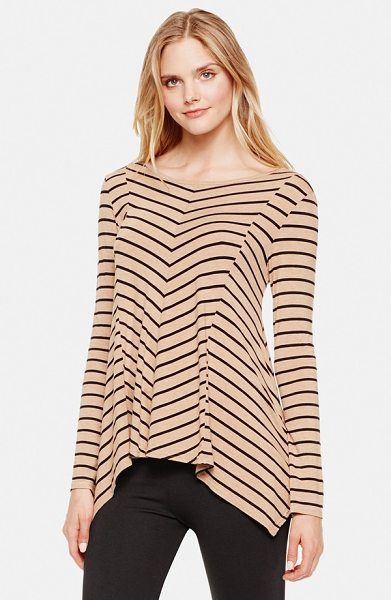 Vince Camuto stripe asymmetrical hem top in tan heather - Striped patterning accentuates the flattering paneled...