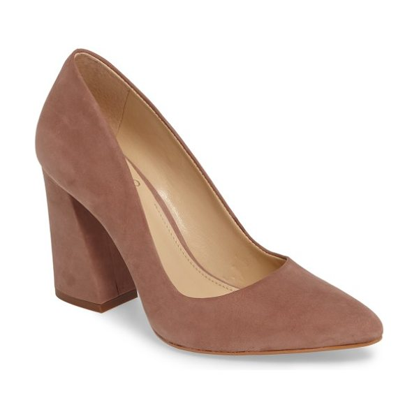 Vince Camuto talise pointy toe pump in dusty rose nubuck leather - Clean lines highlight the timeless appeal of a classic...
