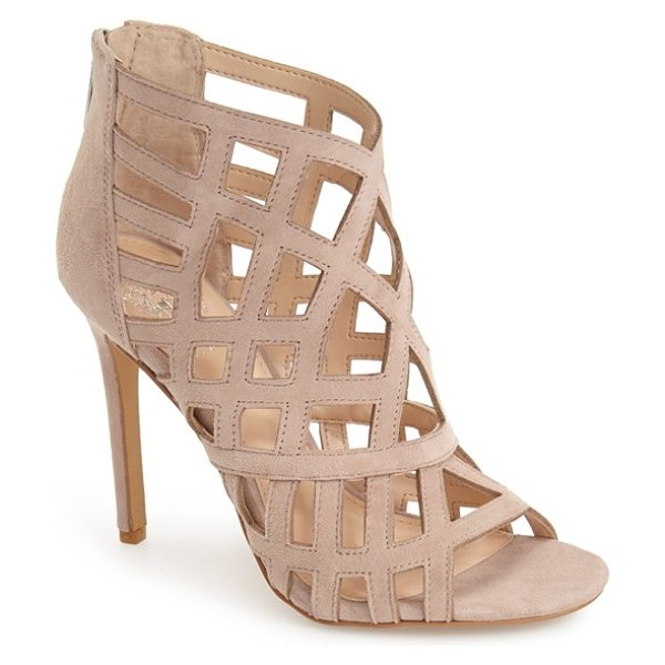 Vince Camuto tatianna caged peep toe bootie in beige - Sharp geometric cutouts show flashes of skin, lending...