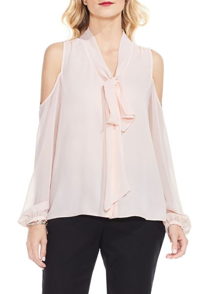 Vince Camuto tie neck cold shoulder blouse in pink balm - A jaunty tie neckline and contemporary cold shoulders...