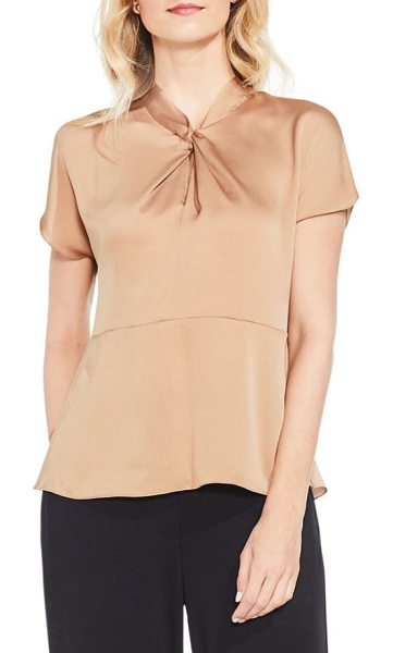 Vince Camuto twist mock neck blouse in warm camel - A twisted detail at the neckline is the elegant focal...