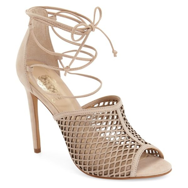 VINCE CAMUTO vasha lace-up sandal - A diamond-cutout upper intensifies the sultry appeal of...