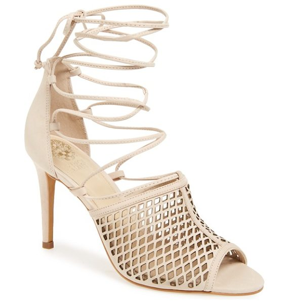 Vince Camuto vasha lace-up sandal in nude pink - A diamond-cutout upper intensifies the sultry appeal of...