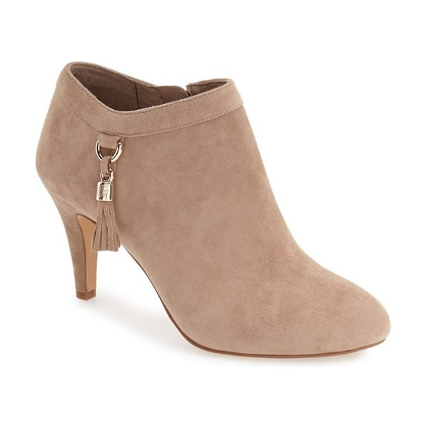 Vince Camuto 'vecka' bootie in khaki suede - A roomy almond toe and a modest wrapped heel define this...