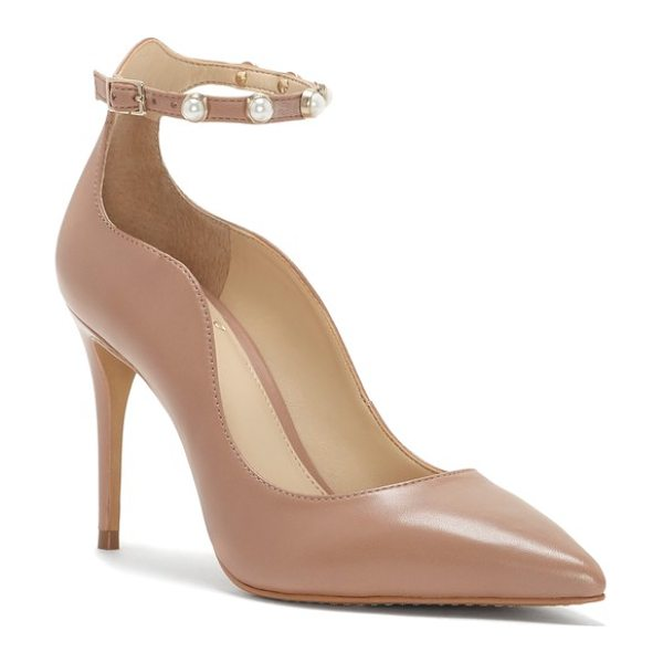 Vince Camuto vine camuto jassita ankle strap pump in warm beige - A svelte strap at the ankle secures a sultry pointy-toe...