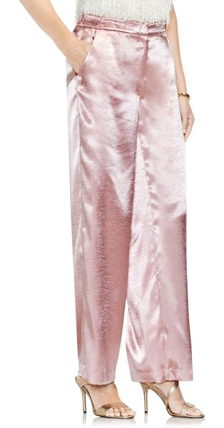 Vince Camuto wide leg hammered satin pants in rose taupe - Slip into the season's festive shine with these chic and...