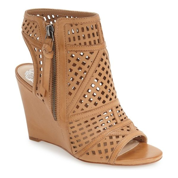 Vince Camuto xabrina perforated wedge sandal in camelback leather - A seamless fusion of on-trend styles, this playful wedge...