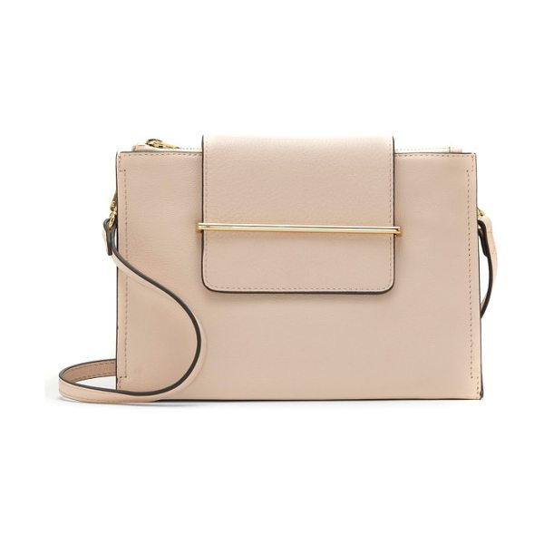 Vince Camuto zarin leather crossbody bag in pale peach - Smooth goldtone hardware highlights the clean, classic...