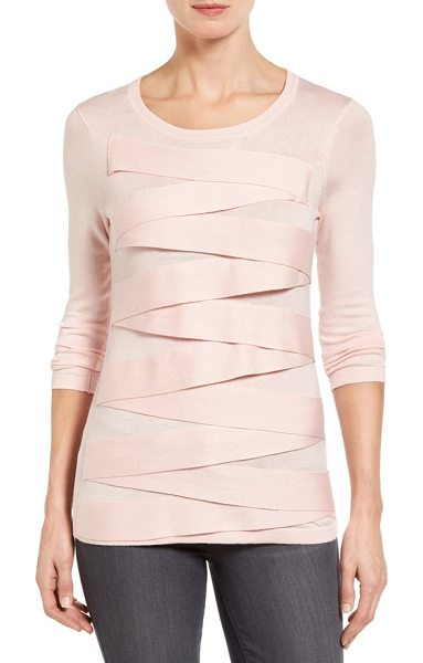 Vince Camuto petite   zigzag sweater in taffy pink - Banded trim zigzags down the front of a fine-gauge...