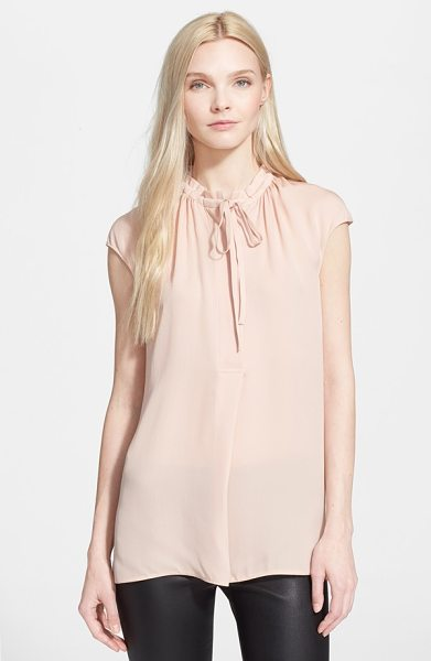 VINCE cap sleeve blouse - A pair of long drawstrings secure the half placket of a...