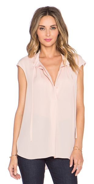 Vince Cap sleeve tie blouse in blush - 100% silk. Dry clean only. Front button closures....