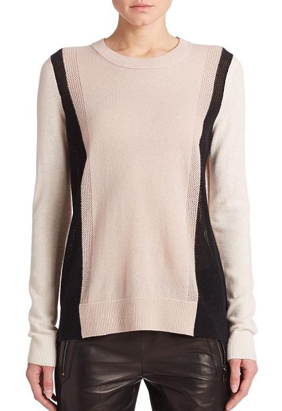 Vince Cashmere colorblock sweater in buff - A modern colorblock sweater in luxe cashmere is enhanced...