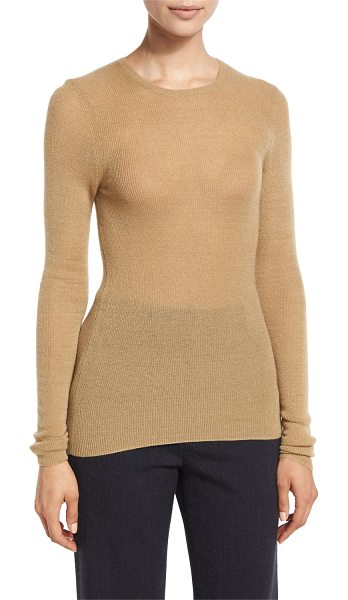 Vince Cashmere Ribbed Crewneck Top in camel - Vince lightweight ribbed knit top. Crew neckline. Long...