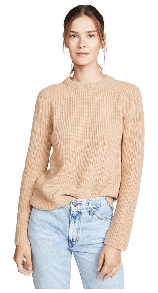 Vince cashmere shaker rib pullover in heather camel