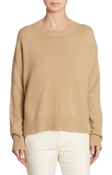Vince cashmere roundneck top in camel - Classic cashmere top with side tie detail. Roundneck....