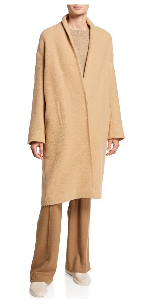 Vince Collarless Long Wool Coat in limestone