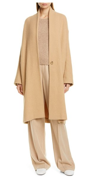 Vince collarless stretch wool coat in beige