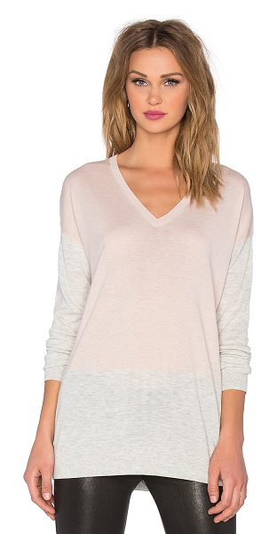 Vince Colorblock easy fit v-neck sweater in pink - 53% merino wool 25% rayon 22% nylon. Hand wash cold. Rib...