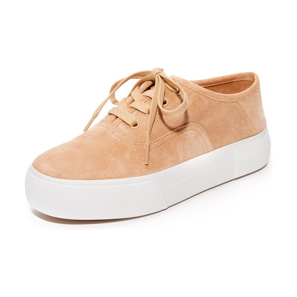 Vince copley platform sneakers in rose - A thick platform adds a solid lift to these suede Vince...