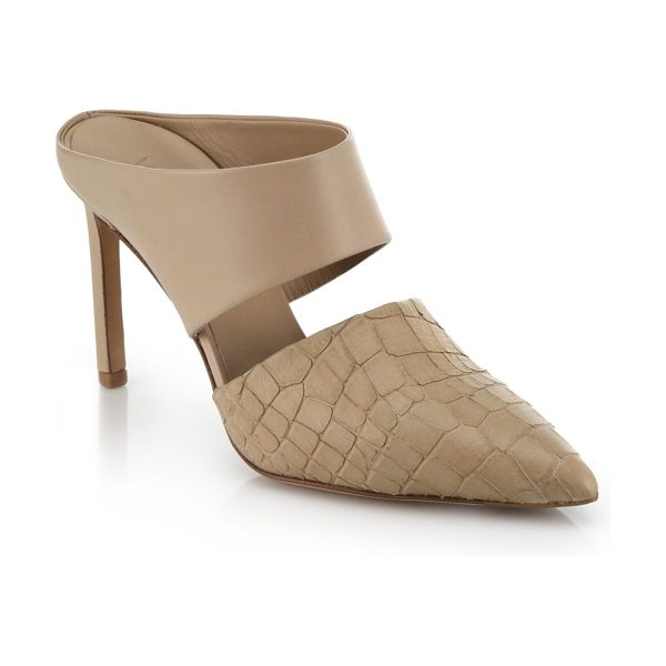 Vince Corinne leather and snake-embossed leather mule pumps in nude - These sleek, modern-minimalist mule pumps take a...