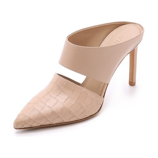 Vince Corrine pointy toe mules in nude - These Vince mules have smooth and embossed panels for a...