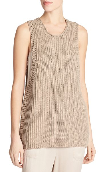 Vince Cotton Waffle-Stitch Sweater Tank Top in khaki - Vince heavy knit sweater tank in waffle stitch. Approx....