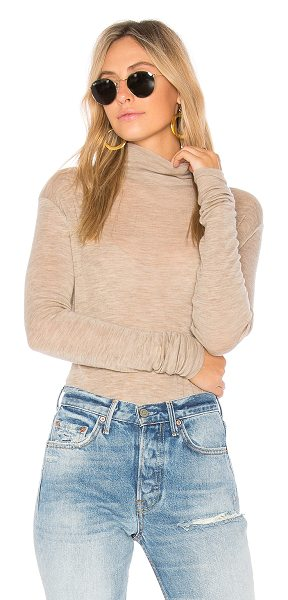 VINCE Cowl Long Sleeve Tee in dark camel - Wool blend. Hand wash cold. Heathered knit fabric....