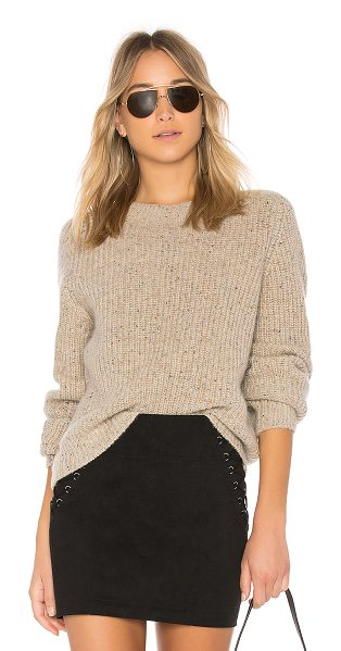 Vince Crop Saddle Sweater in cream - 100% cashmere. Hand wash cold. Knit fabric. VINCE-WK413....
