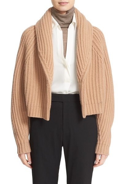 Vince crop wool & cashmere cardigan in caramel - Sumptuously cozy, a shawl-collar cardigan modernized in...