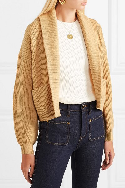 Vince cropped ribbed wool and cashmere-blend cardigan in beige - The earthy color palette of Vince's Pre-Fall '18...