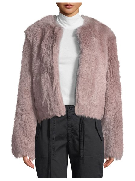Vince Cropped Shearling Fur Coat in pink - Vince coat in dyed lamb (Spain) shearling. Collarless...