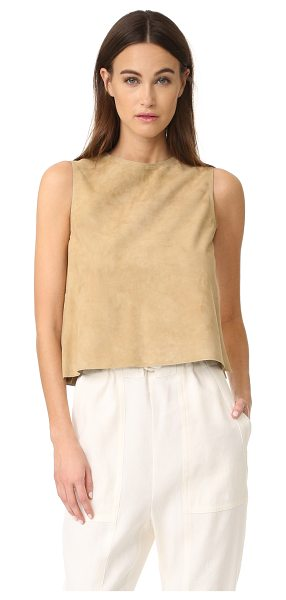 Vince cropped suede shell in khaki - A simple Vince shell feels chic in luxuriously soft...