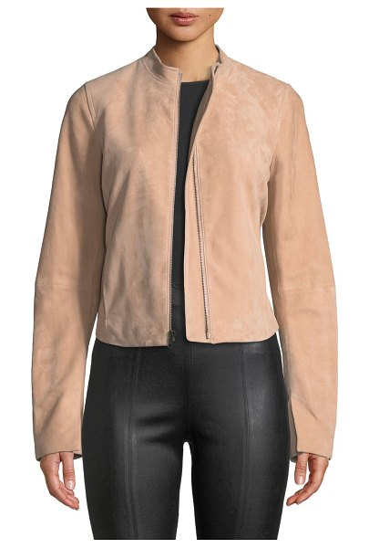 Vince Cropped Zip-Front Suede Moto Jacket in rose quartz
