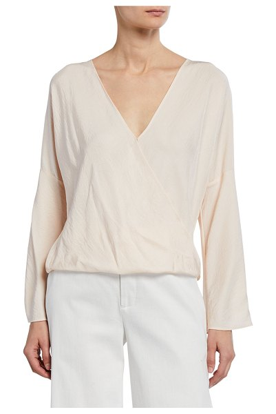 Vince Cross-Front Long-Sleeve Blouse in pink