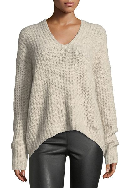 Vince Deep V-Neck Pullover Sweater in brown