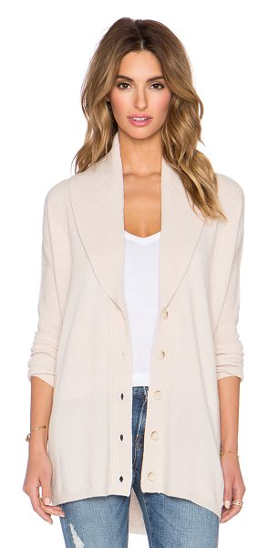 Vince Directional rib cardigan in beige - 70% wool 30% cashmere. Hand wash cold. Front button...