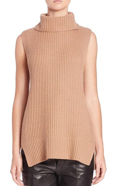 Vince Directional ribbed turtleneck sweater in almond - Multi-directional ribbing refines the slim fit of this...