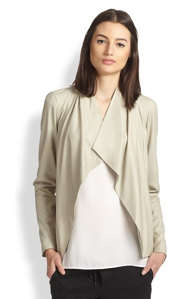 Vince Draped leather jacket in sandstone - Luxe lambskin leather in a beautifully draped...